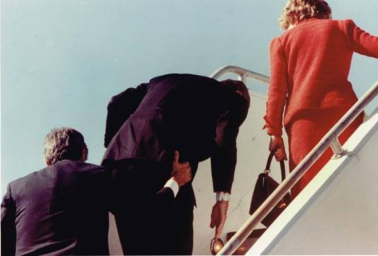Assisting the Reagans into Air Force One